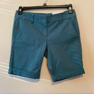 LOFT Teal Green Blue Summer Bermuda Roll Shorts 4